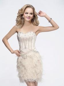 Magnifique Robe de Soirée Blanche Bustier, Courte, avec Bas en Plume Fines