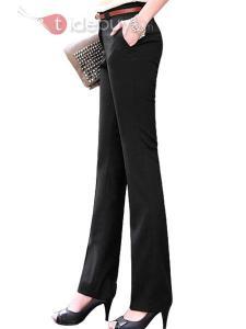 Pantalon Droit Elégant Couleur Noir en