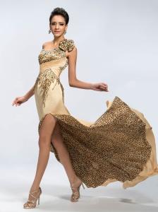 Robe de Soirée / Robe de Bal Sexy une Epaule A-ligne Perles Léopard