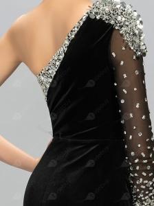 Robe de Soirée Longue Conçu Indépendamment Mode Une-épaule Manches Longues