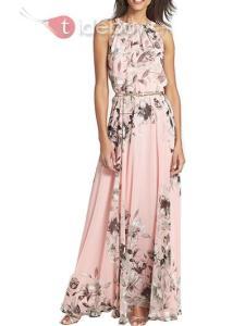 Robe Maxi Impression Rose Nouveauté en Vogue