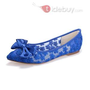 Chaussures Plates Pointu Couleur Pure Dentelle Style Adorable