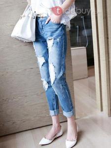 Jambe Droite avec Trou jeans Occasionnels