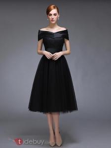 Robe de Soirée Noir Au Genou Lacets Epaule Plat