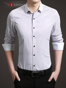 Chemise Mini Vertical Stripe Design Simple Boutonnage Hommes