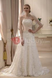 Robe de Mariée Élégante A-ligne/Princesse sans Bretelles avec Dentelles Traîne Courte