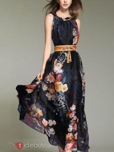 Robe Longue Bohemia en Mousseline Imprimée Florale Avec Ceinture