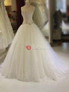 Robe de Mariée Pailletée Cristal Perles en Tulle
