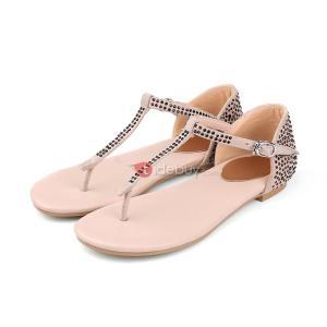 Sandales Plats Strass T avec des