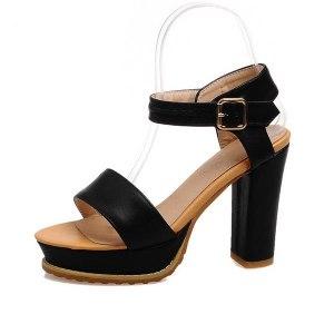 Sandales à Haut Talons Noir PU Plateforme Chunky
