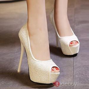 Sandales à Haut Talons Sexy Tête Stiletto de Poissons Pailleté Coréens