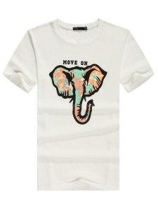T-shirt Coton Col Rond Manches Courtes Mode
